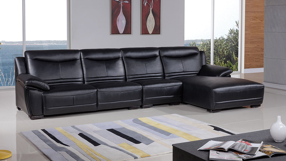 Black Rose Leather Sectional