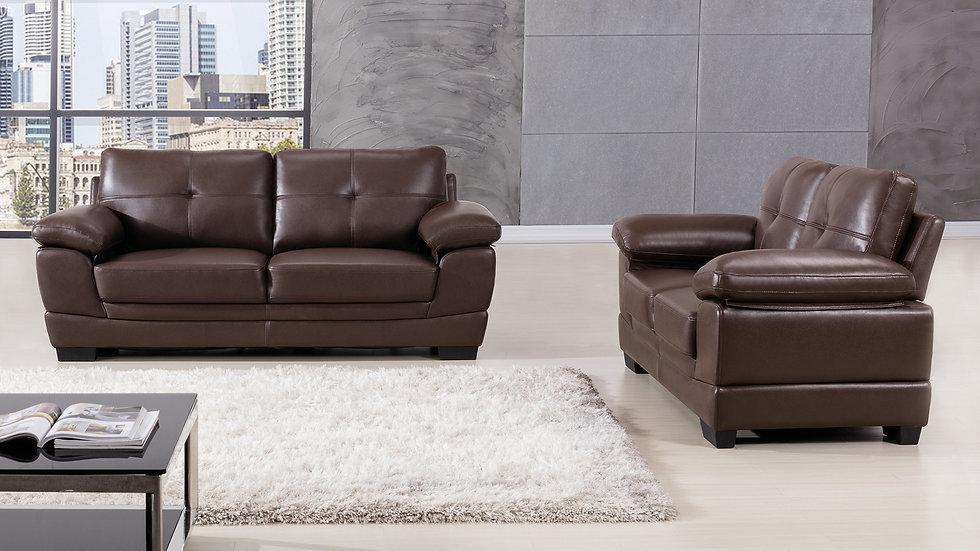 Baywater Leather Air Fabric Sofa Set