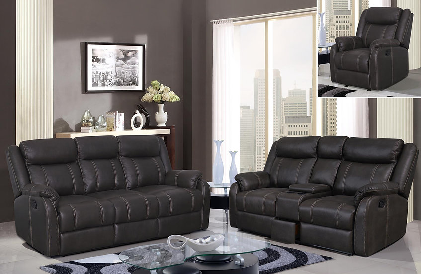 Jacalin Smoke Reclining Sofa Set