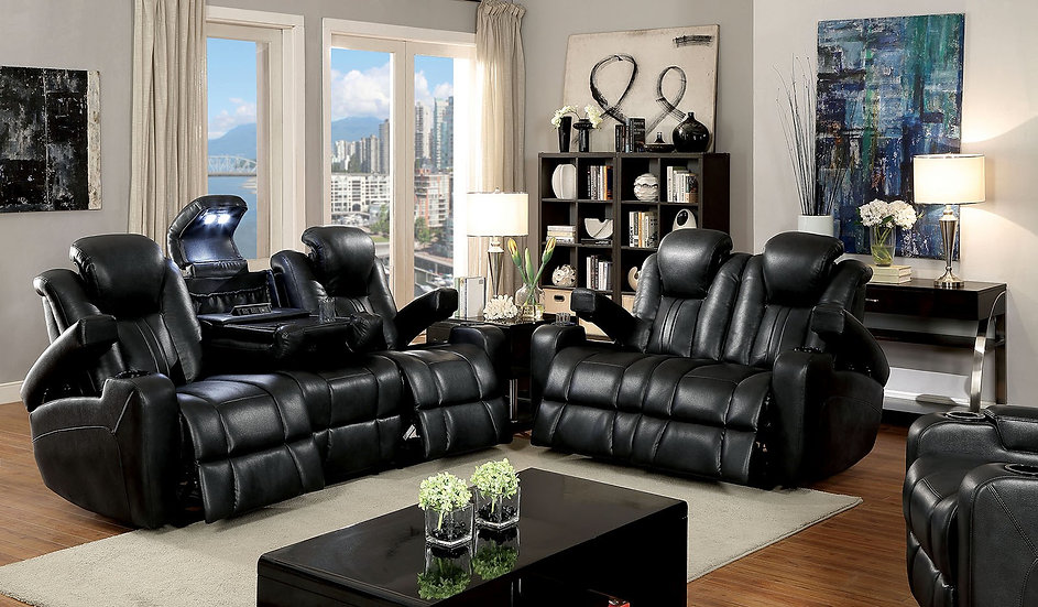 Galactic Black Reclining Sofa Set