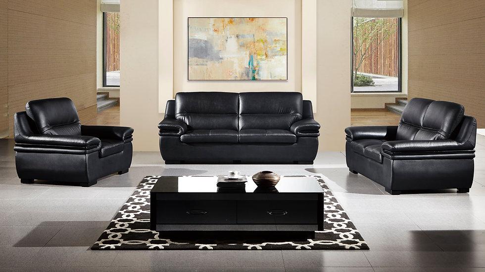 Camden Black Genuine Leather Sofa Set