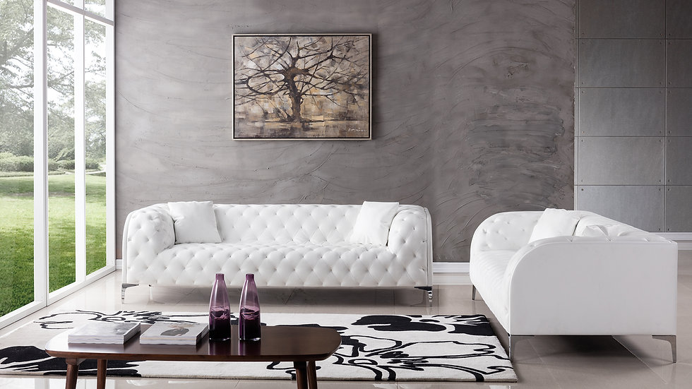 Abbey White Sofa Set