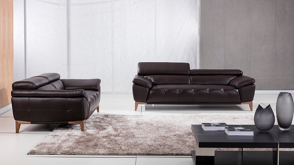 Ampton Genuine Italian Leather Sofa Set