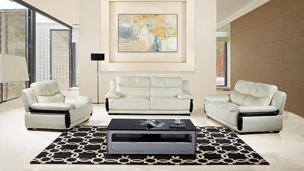 Wright Genuine White  Leather Sofa Set