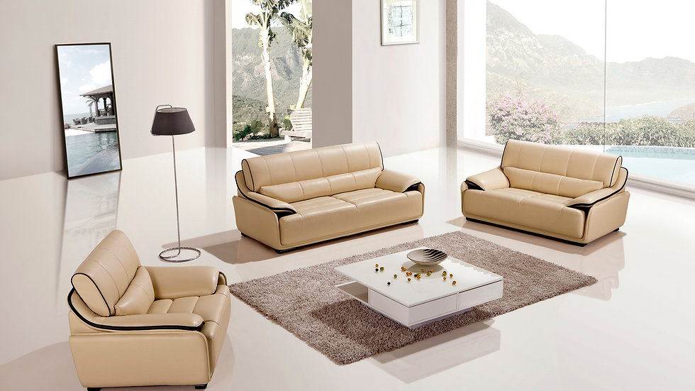Bonneville Yellow Dark Brown Leather Sofa Set