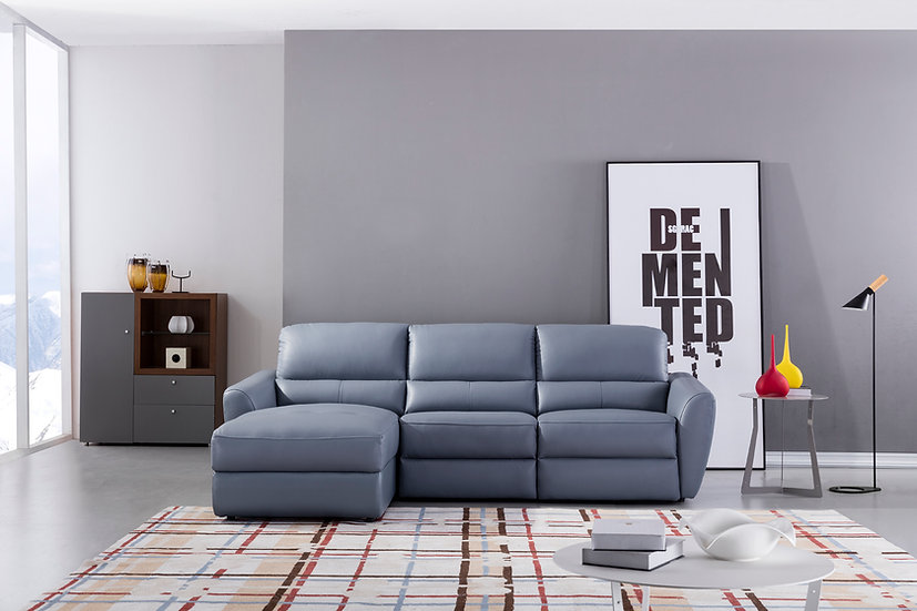 Power Leather Sectional with Recliner