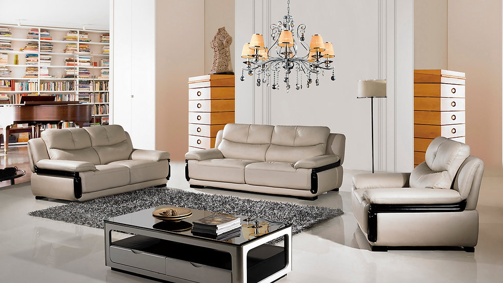 Peter Hills Tan Genuine Leather Sofa Set