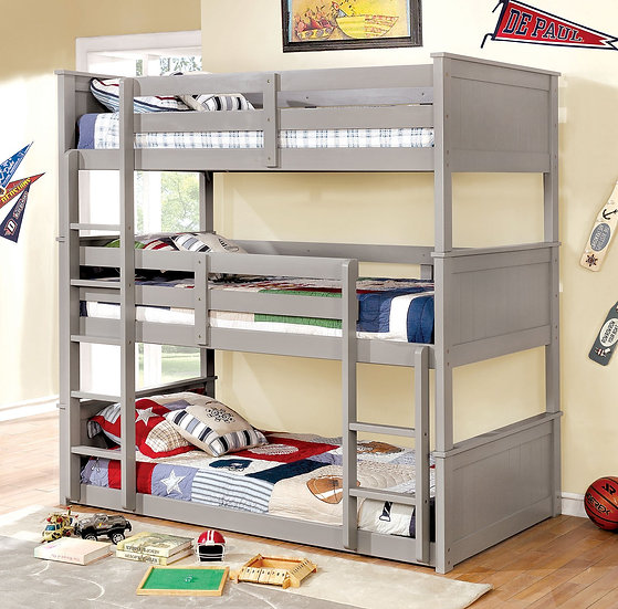 Grey Triple Bunk Bed Set