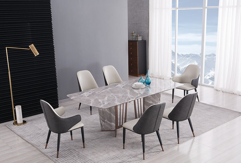7pc Marble Dining Set