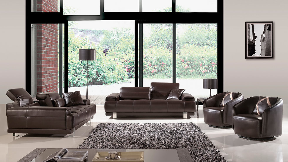 Sowerby Dark Chocolate Leather Sofa Set