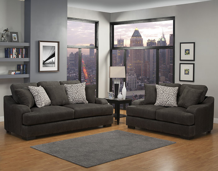 Points Peak Fabric Sofa Set