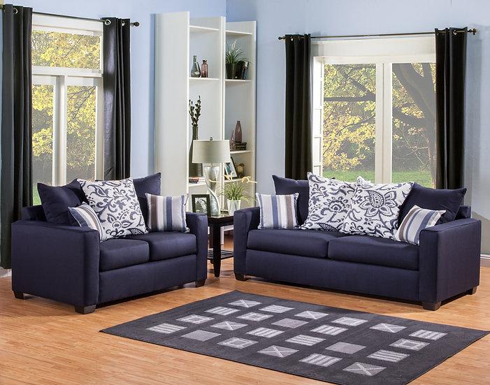 Mistress Blue Fabric Sofa Set