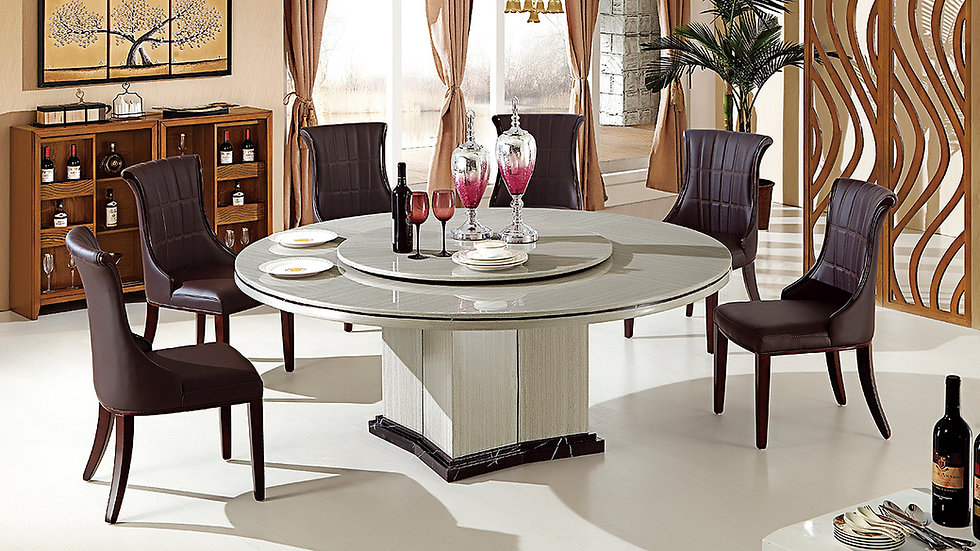 Versaillies Ruede 7pc Marble Dining Set