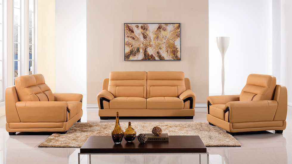 Peter Hills Orange Genuine Leather Sofa Set