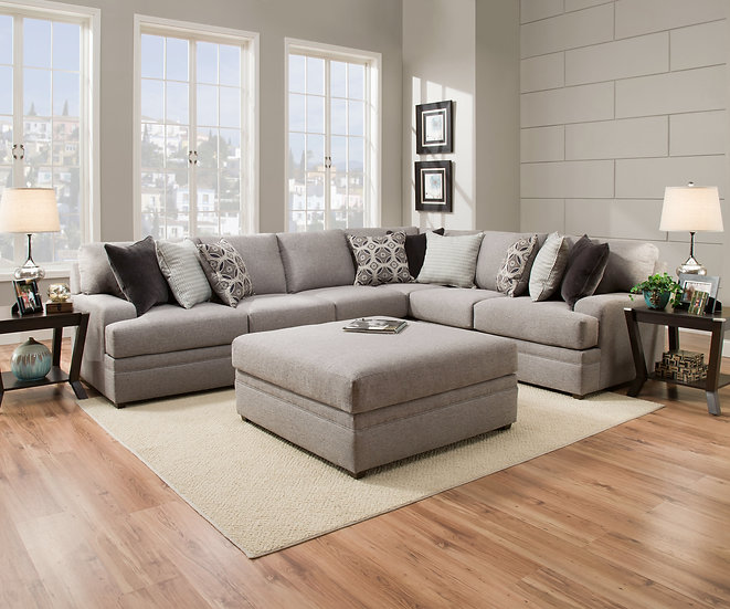 Grey Sectional With Pillows