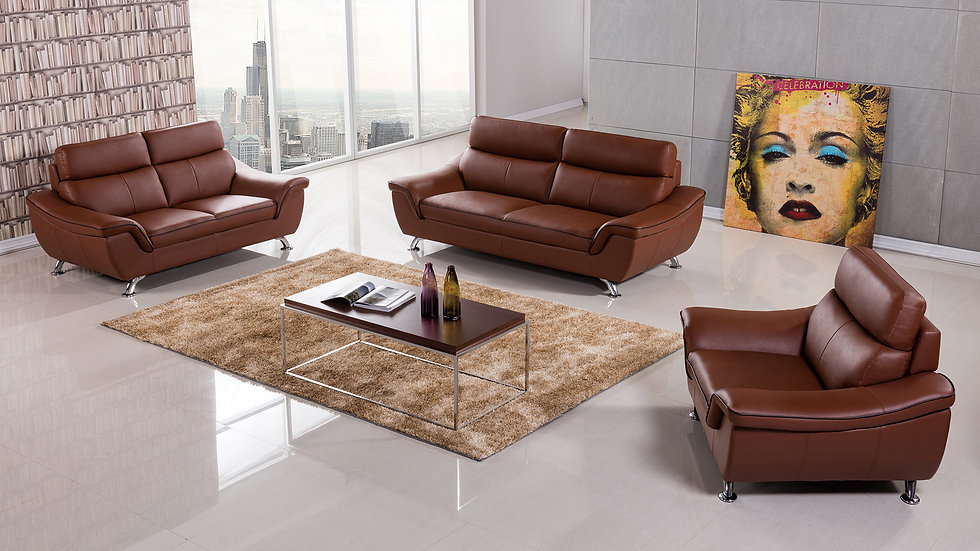 Clarendon Dark Genuine Leather Sofa Set