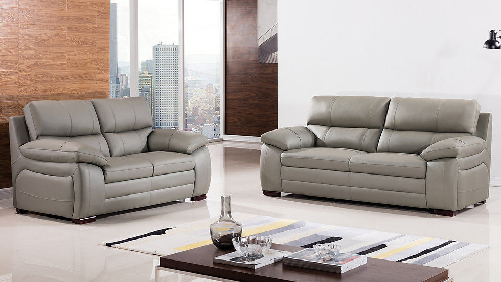 Collingwood Gray Genuine Leather Sofa Set