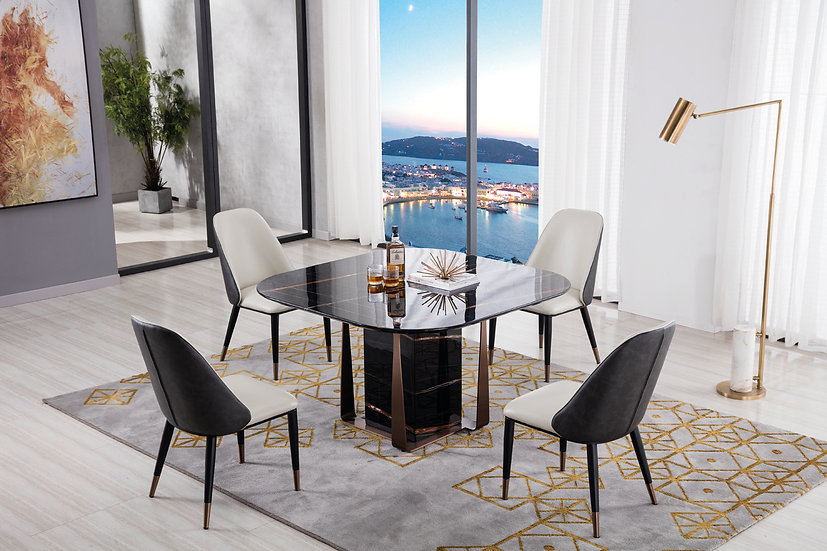 Black Marble 5pc Dining Set