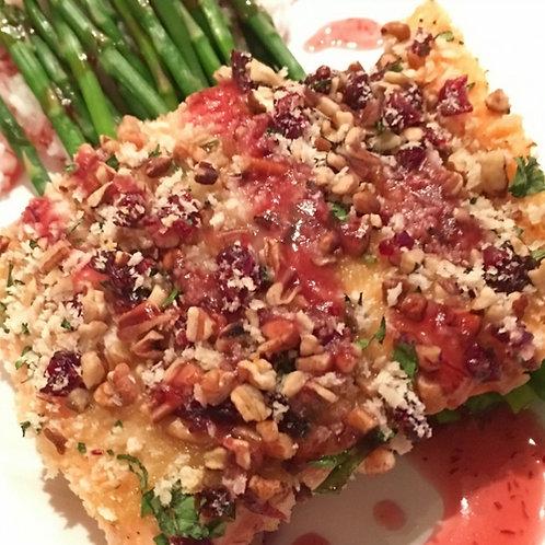 Pecan Crusted Salmon w/ Cranberries