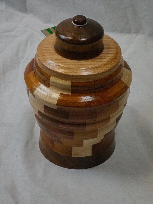 Segmented Wooden Pet Cremation Urn