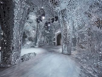Light dances through bureau betak's dramatic mirror-filled pavilion for Dior Spring 2018 show
