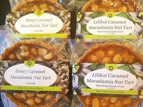 Lilikoi Tart Sampler Pack- 2 Lilikoi and 2 Honey Caramel Macadamia Nut Tarts