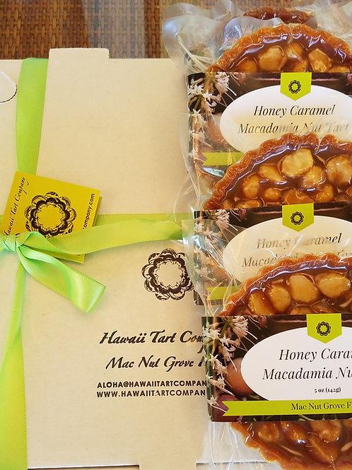 4.5'' Honey Caramel Macadamia Nut Tart    Four Pack