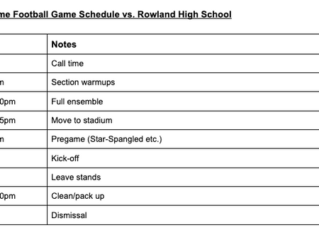 Home Game 9/24 vs. Rowland HS