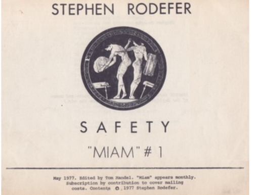 Stephen Rodefer SAFETY (1977)