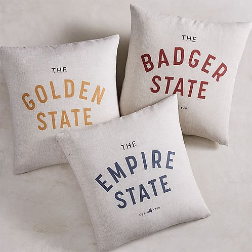 State Slogan Pillow Cover