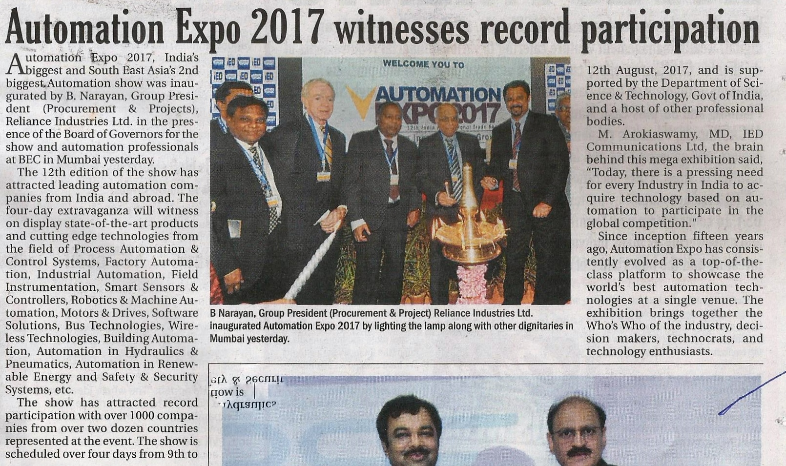 Automation Expo - Afternoon Despatch & Courier, pg 25, August 10th' 2017