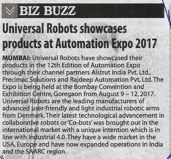 Automation Expo -The Free Press Journal, pg 21, August 10th' 2017