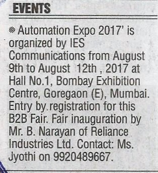 Automation Expo -The Free Press Journal, pg 8, August 9th' 2017