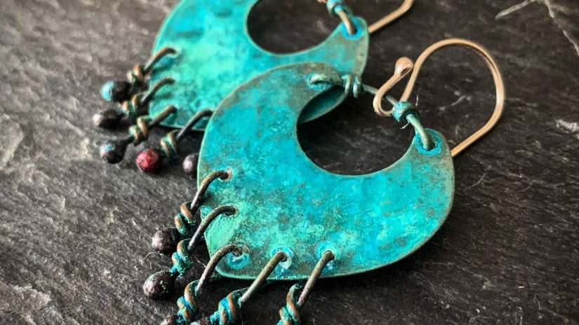 Earrings In Patinated Copper