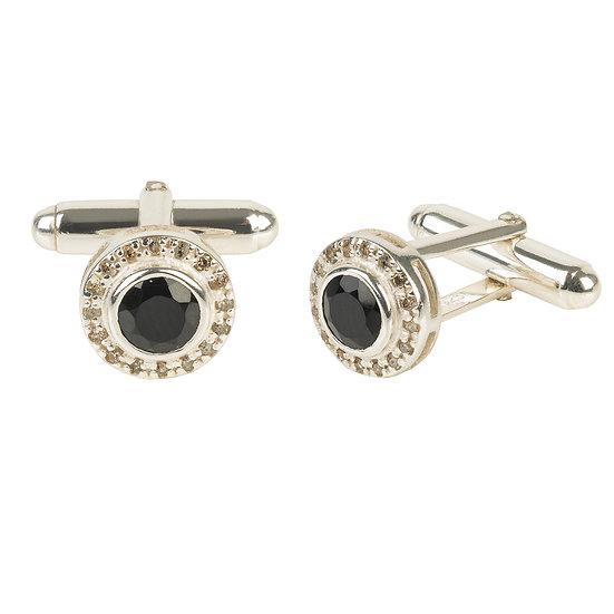 Diamond Gemstone Cufflink Black Onyx Silver
