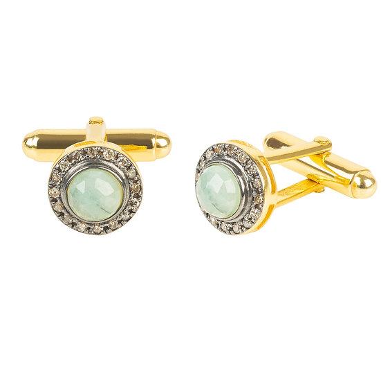 Diamond Gemstone Cufflink Emerald Gold