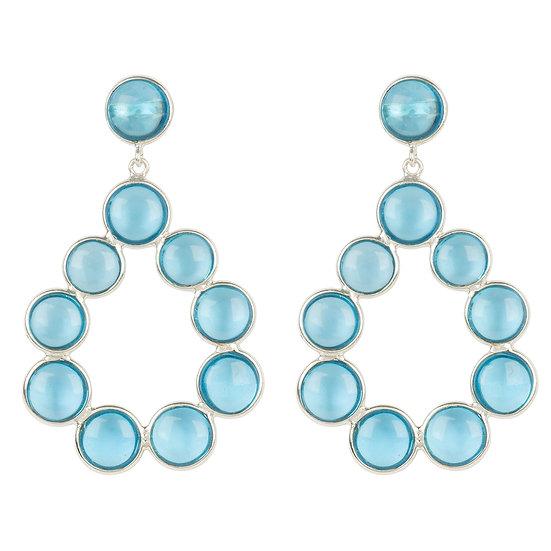Hatun Gemstone Statement Earrings Silver Blue Topaz Hydro