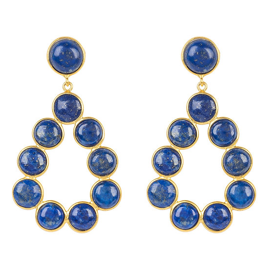 Hatun Gemstone Statement Earrings Gold Lapis Lazuli