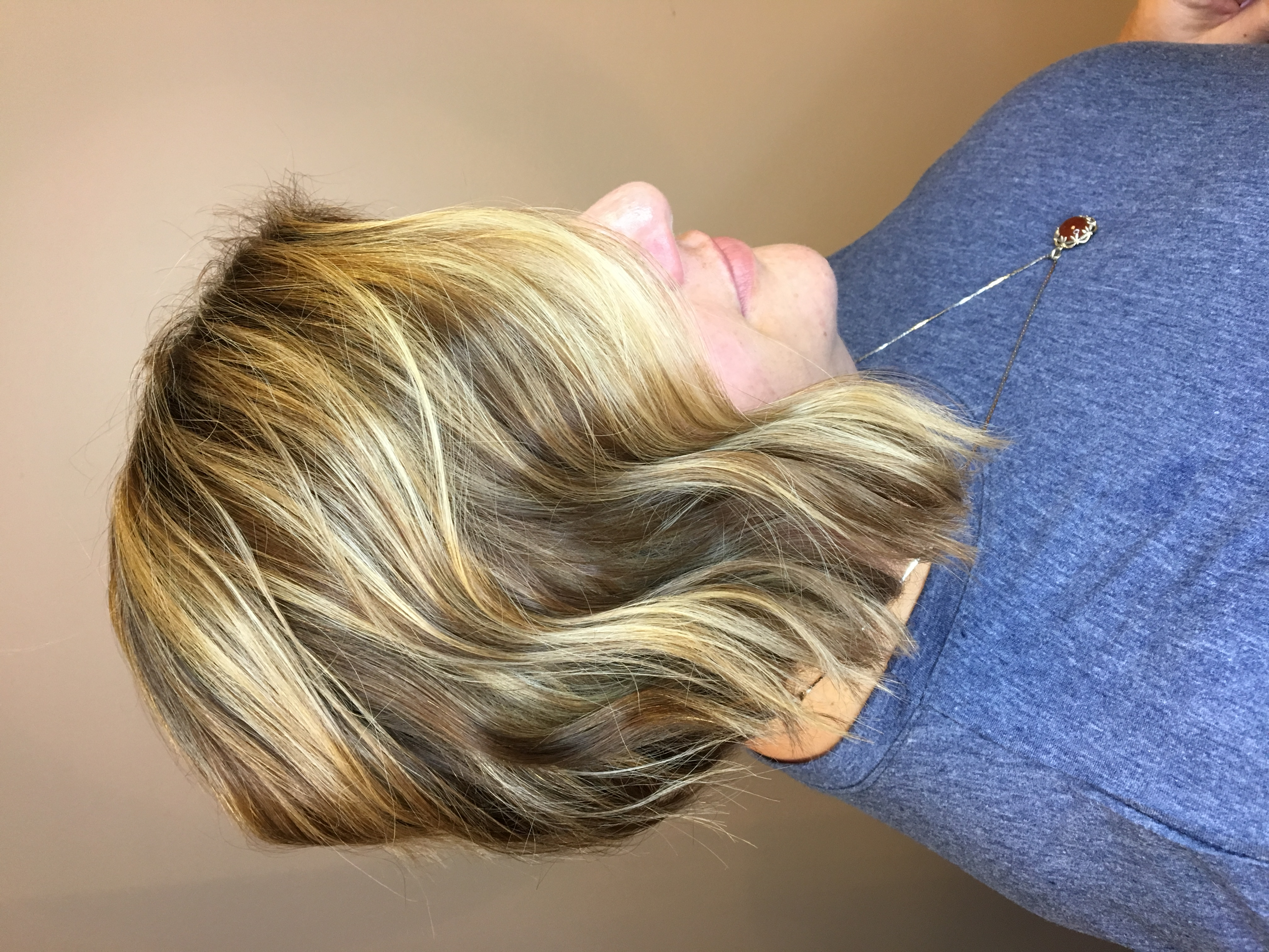 Brunette with Balayage Blonde Highlights