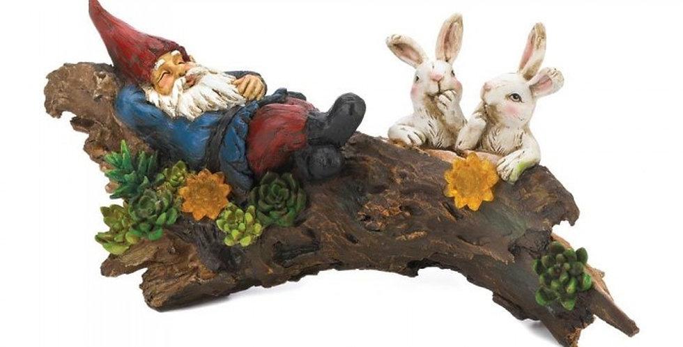 Solar Sleeping Gnome With Rabbits