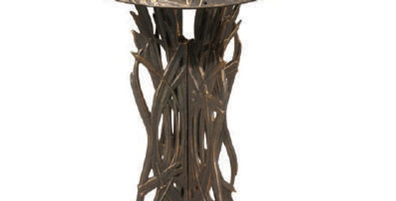 Dragonfly Pedestal Birdbath, shown in Rubbed Bronze