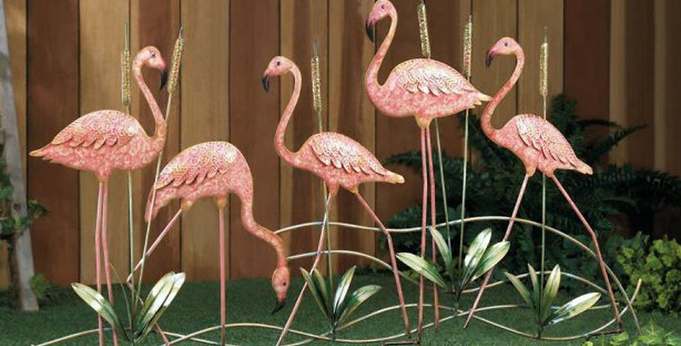 Metal Cattails and Pink Flamingos Garden Stake