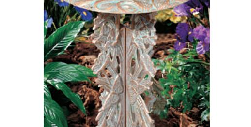 Oak Leaf Pedestal Birdbath, shown in Copper Verdi
