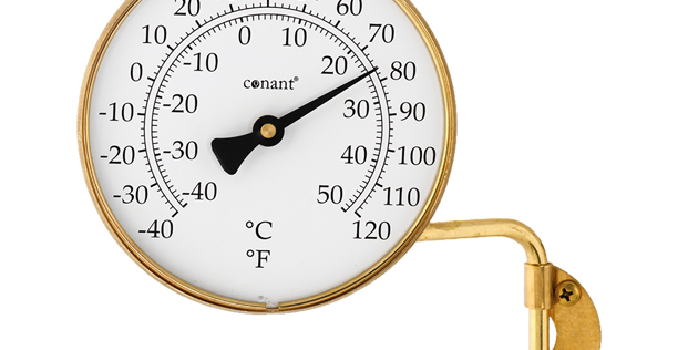 "Vermont 4"" Dial Thermometer (Living Finish Brass)"