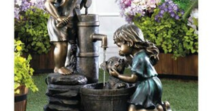 Children Washing Dog Garden Fountain