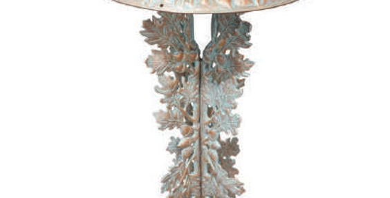 Butterfly Pedestal Birdbath, shown in Copper Verdi