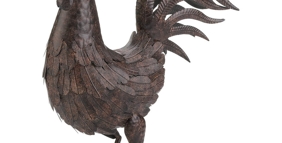 Country Rooster Metal Statue