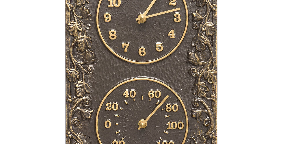 Acanthus Combo Clock And Thermometer - French Bronze