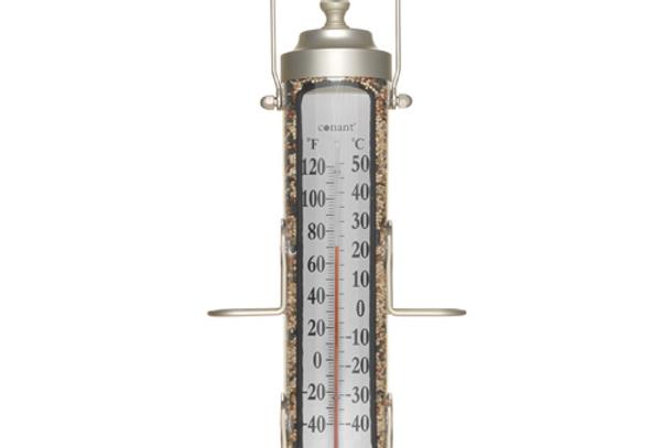 "Grande View Bird Feeder Thermometer Silver 18"""