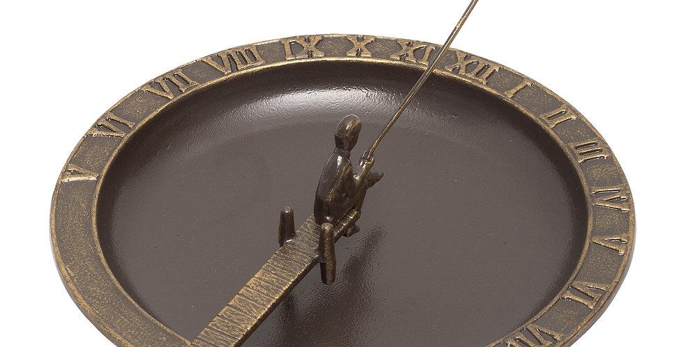 Fisherboy Sundial Birdbath, French Bronze